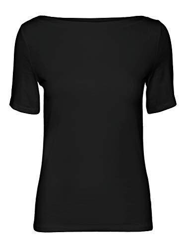 VERO MODA Womens VMPANDA MODAL S/S TOP GA NOOS T-Shirt, Black, M