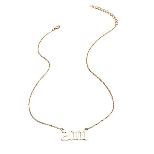 Happyyami Collar de Año de Nacimiento para Mujeres Chapado en Oro Antiguo Año...