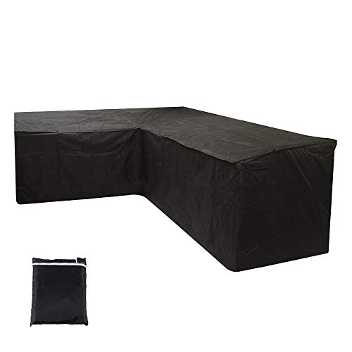 Judy1980 L Shape Garden Furniture Covers Furniture Cushion Storage Bag Outdoor Waterproof Lightweight Sofa Couch Patio Dust Resistant Polyester Protective Cover (215X215X87CM)