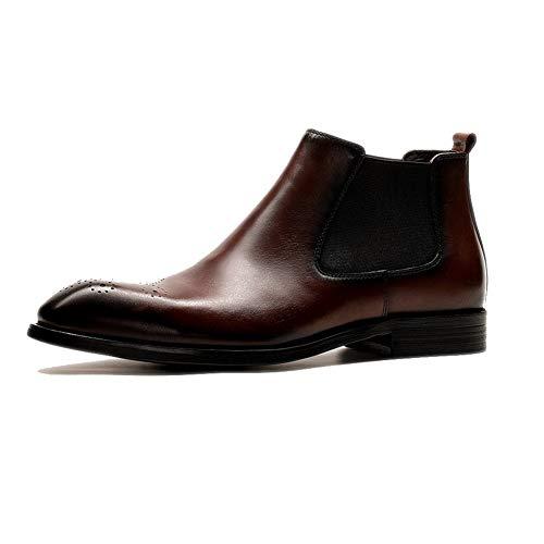 LZLHYH Zapatos De Cuero Botas Zapatos De Cuero para Hombres Botas De Punta Puntiaguda Británica Elegante Antideslizante Resistente Al Desgaste, Regreso A La Escuela,Marrón,39