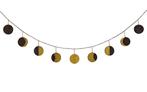 Mkono Wood Moon Phase Wall Hanging Garland with Metal Chains, Boho Home Art Chic Bohemian Wooden Wall Decor - Apartment Dorm Office Nursery Living Room Bedroom Window Decorative Ornaments,Gold