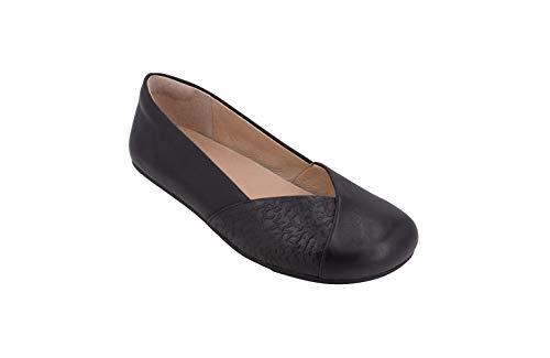 Xero Shoes Women's Phoenix Casual Ballet Flats - Lightweight, Dressy Comfort, Black Leather, 10.5