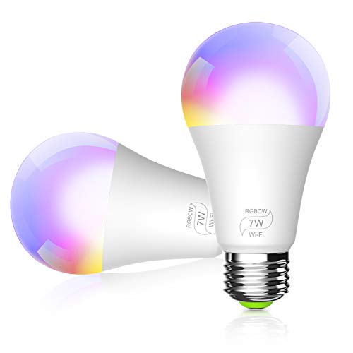 BERENNIS Smart WiFi Light Bulbs, Color Changing LED Lights, Work with Alexa Echo, Google Home, Siri and IFTTT, No Hub Required A19 RGBCW 7W (60w Equivalent) (3 Pack)