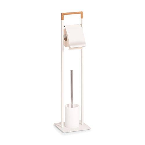 Zeller 18723 Brosse WC en métal et Bambou Blanc env. 19 x 19 x 74,5 cm