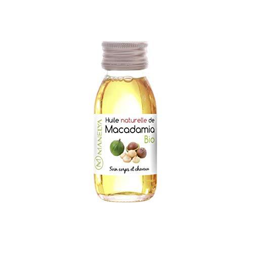 Huile de Macadamia 60ml BIO - 100% Pure et Naturel – Flacon en verre - Riche en Minéraux et Vitamines - Visage - Corps - Cheveux -