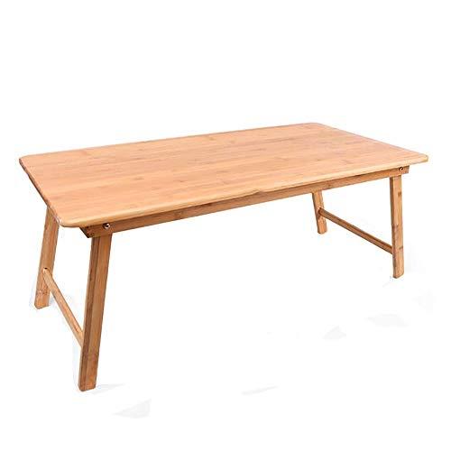 HJCA klaptafel eenvoudig, computertafel, rechthoekig, opvouwbaar, laptoptafel, klein kantoor van bamboe, lengte 74 x breedte 42,5 x hoogte 34 cm, campingtafel