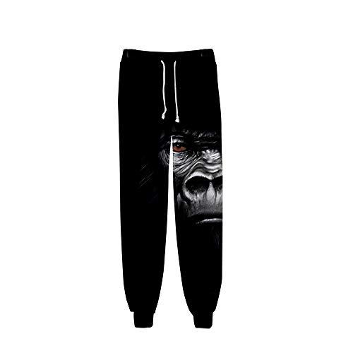 Surwin Unisex Jogger Hosen Herren Damen Trainingshose 3D Gorilla Bedruckte Slim Fit Hose Jogginghose Hip Hop Streetwear Sporthose Baggy Kordelzug Freizeithosen (Schwar Gorilla 7,3XL)