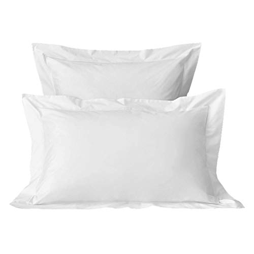 Pizuna 400 Thread Count Cotton Set Of 2 Pillow Cases White Standard, 100% Long Staple Cotton 2 White Pillow Cases, Luxurious Soft Satin Pillowcase White (100% Cotton 75x50 Pillowcase Set Standard)