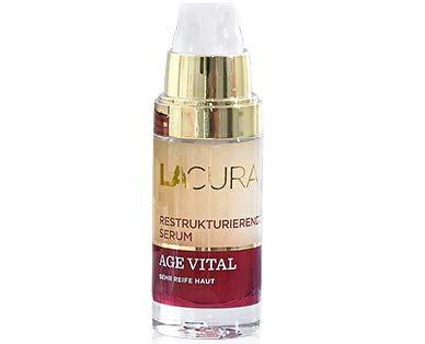 Lacura Age Vital Restrukturierendes Serum bei sehr reifer Haut Inhalt: 30ml Das Serum hält die Haut straff, glatt und pflegt mit Blütennektar, Macadamianussöl und Hyaluronsäure.