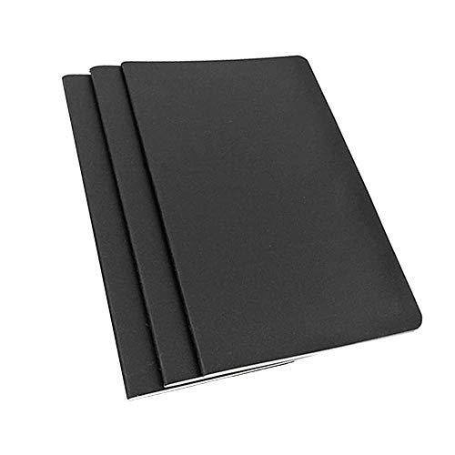TSKDKIT Cuaderno de bocetos A4 de 3 unidades, de papel kraft negro, de 80 g/m², para diario de viajeros
