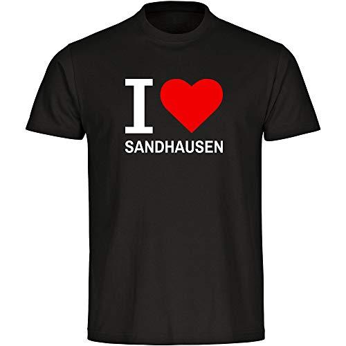 Herren T-Shirt Classic I Love Sandhausen - schwarz - Größe S bis 5XL, Größe:XXXL