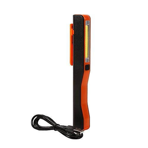 Linterna led USB Antorcha, recargable la linterna de la mano del LED Antorcha portátil de la linterna con la herramienta del hogar del clip del imán(Orange)