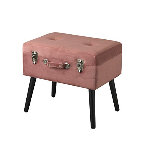 Puff con almacenaje en terciopelo, taburete con patas en madera rosa polvo 50X35X46cm