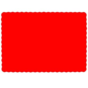 Paper Placemats for Dining Table – Disposable Scalloped Edges Color Table Mats Great for Parties and Christmas Table Decorations 10 x14    Red   50ct
