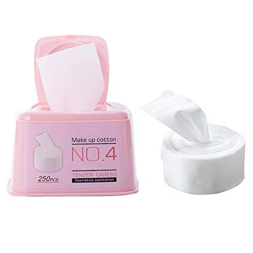 1Box de 250Pcs non-tissés tissu mince couche de coton de maquillage monocouche tampons rouler dans la boîte à emporter jetables coton démaquillant pour le soin des ongles du visage