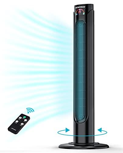 Ventilador Torre Silencioso,WOWDSGN- 93cm Ventilador Torre con Mando, Oscilación de 90°,35W, 3 Velocidades y 3 Modos, Temporizador 15H, Temperatura LED,Negro