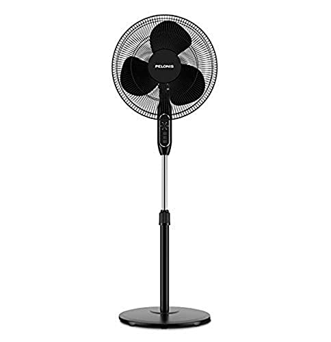 """PELONIS 16'' Pedestal Remote Control, Oscillating Stand Up Fan 7-Hour Timer, 3-Speed and Adjustable Height, PFS40A4BBB, Supreme 16""""-Black"""