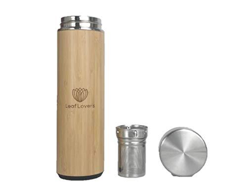 Leaf Lovers Thermosflasche mit Sieb · Thermobecher to go aus Edelstahl Trinkflasche 500 ml · Teeflasche mit Edelstahl Sieb · Hülle aus Bambusholz