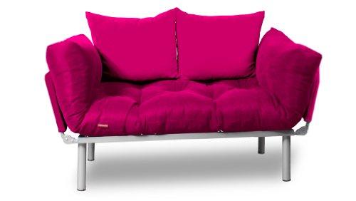 EasySitz Schlafsofa Sofa 2 Sitzer Kleines Couch 2-Sitzer Schlafsessel für Zweisitzer Personen Mein Futon Sitzen EIN Einer Farbauswahl (Rosa & Rosa)