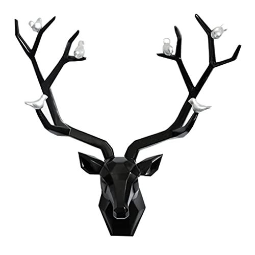 MNYHJDS Handmade Deer Head Mural Animal Head Wall Hanging Easy to Install, Not Easy to Fade and Damage for Wall Mount Decoration J (Color : BLACK, Size : 51 * 16.5 * 52CM)