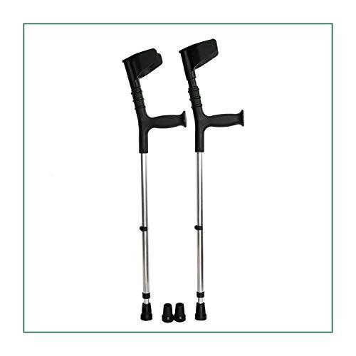 ORTONES   Pack de 2 Muletas Adulto con Doble Regulación Caña y Codo de Aluminio con Conteras de Repuesto