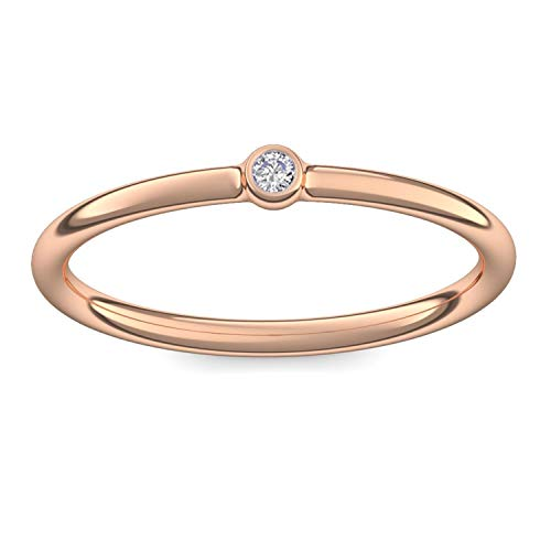 Rosegold Ring Verlobungsringe Rosegold (Silber 925 hochwertig vergoldet) von AMOONIC mit Zirkonia Stein +LUXUSETUI! Rosegoldring Ring Zirkonia Geschenk Ringe Verlobung KA11VGRSZIFA50