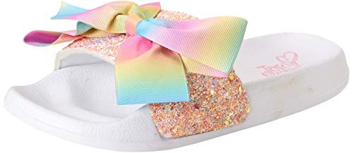 JoJo Siwa Girls Unicorn Open Toe Slide Sandals with Signature Bow (Little Kid/Big Kid) (Pink Glitter, Numeric_11)'