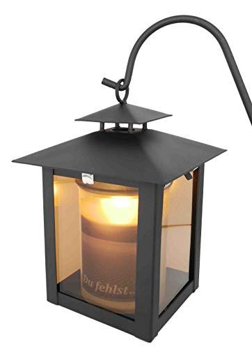 Grablaterne, Grableuchte ideal für Urnengrab aus Stahl, schwarz matt mit Echtglasscheibe inkl. 3 tlg. Erdspieß und LED Licht 18 cm