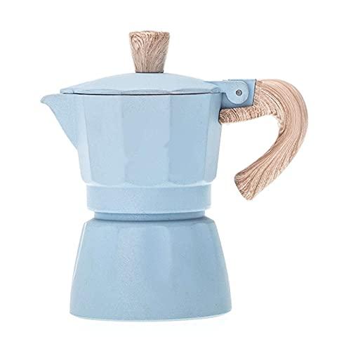 JUSTYINUO Cafeteras Cafetera Aluminio Mocha Mocha Espresso Percolador Pot MAKETER Moka Pot 6CUT FOTFETAF CAFFETER 300ml Potes de té y servidores de café (Color : Blue)