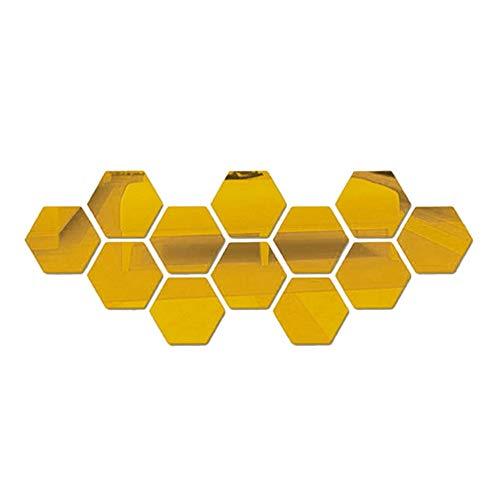 Jroyseter Hoja Espejo acrílico 3D Pegatinas de Pared Auto Adhesivo removible Hexagonal Espejo Decorativo para el hogar Sala Dormitorio decoración en Oro Pegatinas (24PCS)