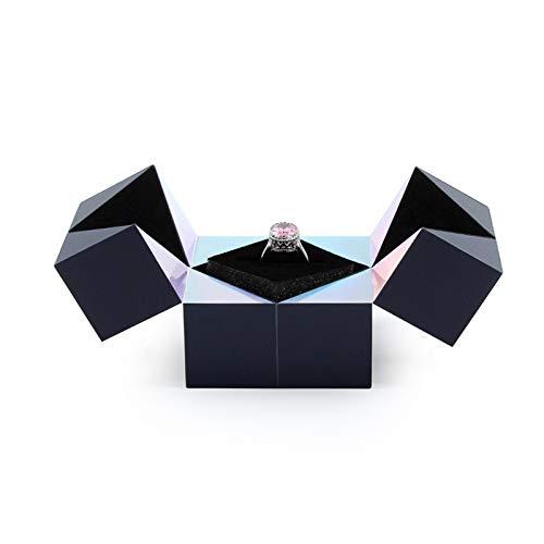 Anillo de plata creativo, pulsera y rompecabezas Joyero Cubo mágico tendencia giratoria (Caja del anillo)