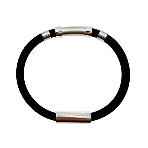 BJS-RTERS Silicone and Stainless Steel Wristband Antistatic Waterproof Fashion, Ideal for The Sports Activities and The Daily Life Bracelet for Men and Women