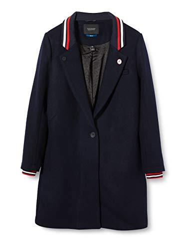 Scotch & Soda Maison Damen Bonded Coat with Rib Details Jacke, Blau (Night 02), Large (Herstellergröße: L)