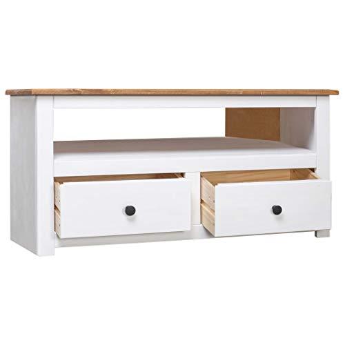 Tidyard TV-Eckschrank TV-Schrank HiFi-Schrank Lowboard Sideboard aus massivem Kiefernholz Mit 2 Schubladen 1 offenen Fach,Schubladenschrank Fernsehtisch 93 x 55 x 49 cm,Weiß und Naturholzfarbe