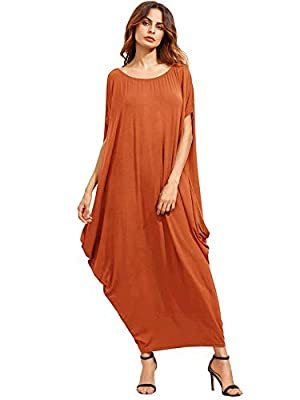 Verdusa Women's One Off Shoulder Caftan Sleeve Harem Maxi Dress