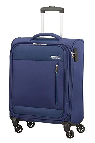 American Tourister Heat Wave - Zainetto a Mano Spinner S (55 cm - 38 L), Blu (Combat Navy)
