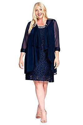 R&M Richards Short Mother of The Bride Plus Size Dress