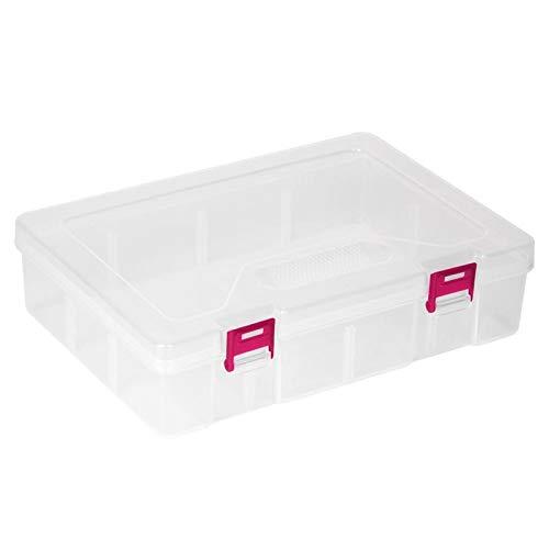 Caja de almacenamiento Organizador de escritorio transparente Uso doméstico de la oficina en el hogar para almacenamiento de escritorio(Red button)