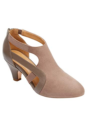 Comfortview Women's Wide Width The Sage Pump Heeled Shoes - 10 1/2W, Dark Taupe