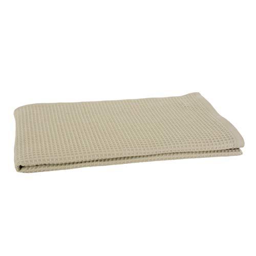 Clarysse 100% Bio Baumwoll Saunatuch, Badetuch in Waffel Piqué Optik 80 x 190 cm mit Massage Effekt, gekämmte Baumwolle Made in Belgium, GOTS-Zertifiziert, absorbierende Handtücher, Beige