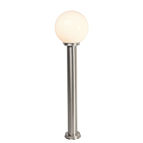 QAZQA - Moderne Außenleuchte | Wegeleuchte | Gartenlampe | Gartenleuchte | Standleuchte Pfahl Edelstahl | nickel matt 100 cm - Sfera | Außenbeleuchtung - Edelstahl Länglich - LED geeignet E27