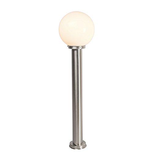 QAZQA Moderne buitenlamp paal staal RVS 100 cm - Sfera Kunststof/Roestvrij staal (RVS) Rond/Bol Geschikt voor LED Max. 1 x 60 Watt