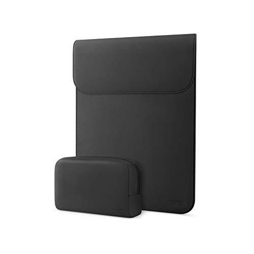 MOSISO Laptop Hülle Kompatibel mit MacBook Air 13 Zoll A2337 M1/A2179/A1932 2020-2018,MacBook Pro 13 Zoll A2338/A2251/A2289/A2159/A1989/A1706/A1708,Kunstleder Ledertasche mit Klein Tasche,Schwarz