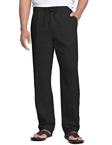 COOFANDY Leinenhosen Herren Lang Hosen mit Kordelzug Seitetasche Strandhose Sommerhose Freizeithose Leichte für Männer Einfarbig Schwarz M