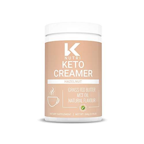 Keto Creamer, Keto Coffee Creamer with MCT Oil Powder and Grass Fed Butter, Coconut Creamer for Coffee, Paleo and Keto Friendly Powdered Creamer, Hazelnut Creamer, 268g - KNutri