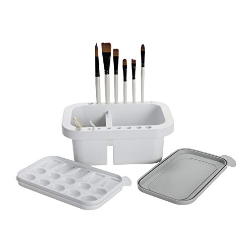 Jerry's Artarama Artist Brush Washer Multi-Use Includes Paintbrush Rest & Stand, Cleaning & Washing Basin, Waterbucket, and Painting Palette with Lid - [9'L x 6'W x 4'D]