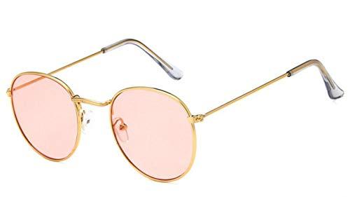 SAGIUSDM Gafas Redondas Montura Mujer Hombre Gafas Retro Miopía Marcos ópticos Lentes Transparentes de Metal Negro Plata Oro Gafas, Oro Rosa Claro