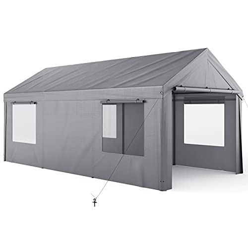 Carport, 10x20ft Heavy Duty Carport with Removable Sidewalls & Doors, Portable Garage for Auto, Boat & Market stall, Car Tent with Windows, Car Canopy for Party & Wedding, UV-Resistant Tarp, Gray