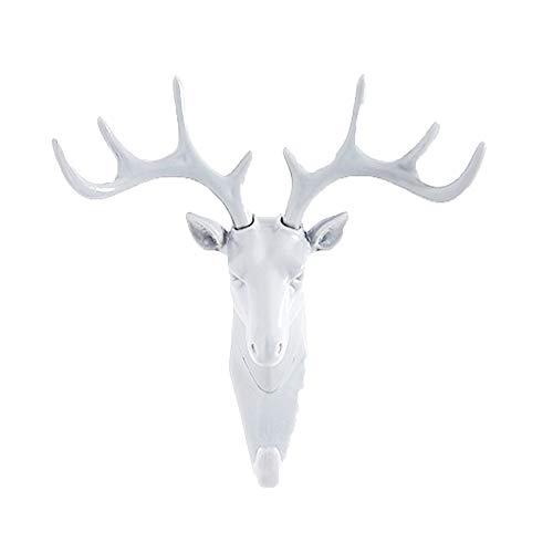 CZ-XING - Colgador de pared individual de animales, gancho de cabeza de elefante, de ciervo, ganchos adhesivos, decoración de pared, gancho