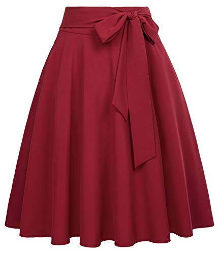 Belle Poque Women High Waisted A-Line Flared Midi Skirt with Pockets Wine Size L BP561-2